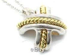 Tiffany & Co. Signature Necklace 18K Yellow Gold Silver 925 16.5inch Used Ex++