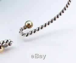 Tiffany & Co. Twisted Hook Bangle Bracelet 18K Yellow Gold Silver 925 p759