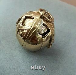 Unique 9ct Yellow folding Gold&silver Freemasons Masonic ball pendant