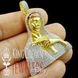 Unisex 10K Yellow Gold Silver Simu Diamond Lady of Guadalupe Mother Mary Pendant