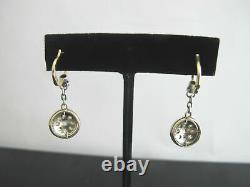 VICTORIAN Era 14k Yellow Gold Silver ROSE CUT Diamond Dangle Lever Back Earrings