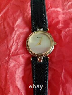 VINTAGE GUCCI 4500L Womans 18K Gold-silver Watch with ORIGINAL LIZARD BAND