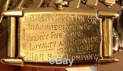 VTG Gruen Curvex Precision 14k Yellow Gold Silver Dial Mens Service Award Watch