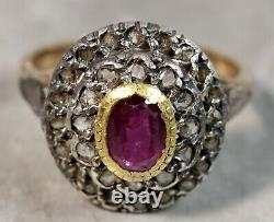 Victorian 1890's 14K Yellow Gold Silver Top Rose Cut Diamond Ruby Ring