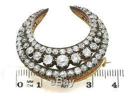 Victorian 4.14ct Diamond and 12ct Yellow Gold, Silver Set Crescent Brooch