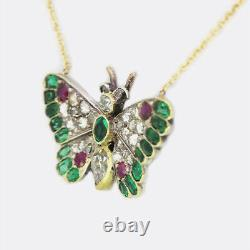 Victorian Diamond, Emerald and Ruby Butterfly Necklace 9ct Yellow Gold & Silver