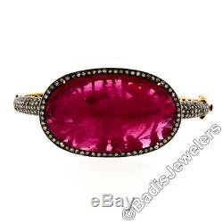 Vintage 14k Yellow Gold Silver Top 4ctw Diamond Large Ruby Open Bangle Bracelet