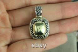 Vintage David Yurman 14K Yellow Gold Silver Albion Pendant Enhancer Necklace