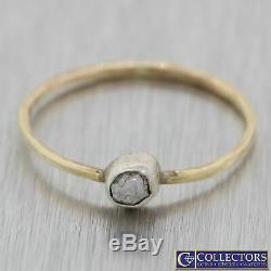 Vintage Estate 14k Yellow Gold Silver Top Rough Diamond Solitaire Ring N8