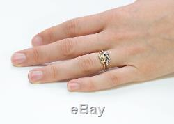 Vintage Gucci 18K Yellow Gold Silver Knot Ring