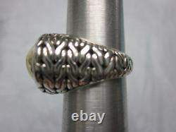 Vintage JOHN HARDY Sterling Silver & 22K YELLOW GOLD Woven HAMMERED Ring Sz 6.5