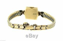 Vintage Ladies Jules Jurgensen 14K Yellow Gold Silver Stick Dial Watch
