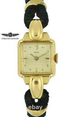 Vintage Ladies Rolex 4211 Precision 18k Yellow Gold Silver Dial Cocktail Watch