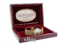 Vintage Longines Mechanical 14k Yellow Gold Silver Gold Stick Dial Jewelry Clasp