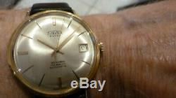 Vintage Mens 18k Solid Yellow Gold Silver Extra Auto 25j Wristwatch Runs Excel