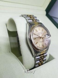 Vintage Rolex 1601 Date Just 36mm Case 14k Gold Bezel (Serviced!)