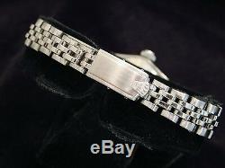Vintage Rolex Date Ladies Stainless Steel & 18K White Gold Watch Black Dial 6517