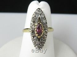 Vintage Ruby Rose Cut Diamond Navette 18K Yellow Gold Silver Marquise