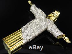 Yellow Gold Finish. 925 Sterling Silver Lab Diamond Jesus Charm Pendant