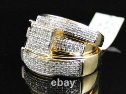 Yellow Gold Finish Round Cut Diamond Engagement Bridal Wedding Ring Trio Set