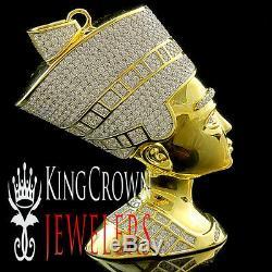 Yellow Gold Silver Egyptian Queen Pharaoh Nefertiti Lab Diamond Pendant 3.5 Inch
