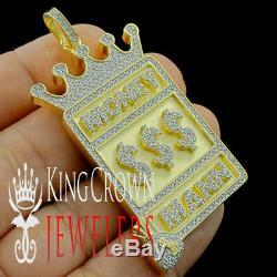 Yellow Gold Silver Money Mann $ Cash Charm Simu Diamond Money Bag Crown Pendant