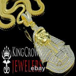 Yellow Gold Silver Round Lab Diamond Egyptian Pharaoh King Tut Pendant Chain Set