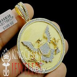 Yellow Gold Silver Seal US President American Eagle Pendant Simu Diamond Charm
